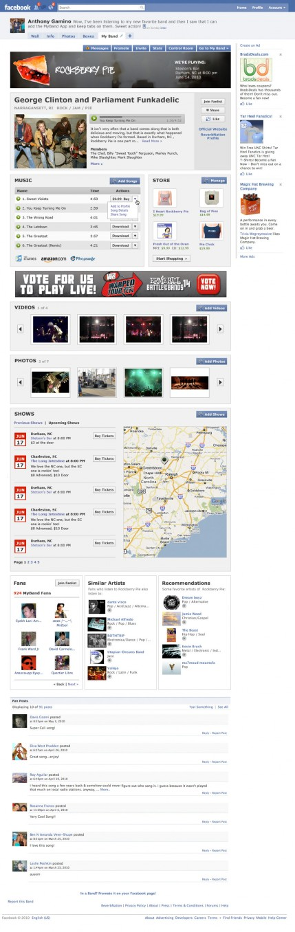 ReverbNation MyBand application design
