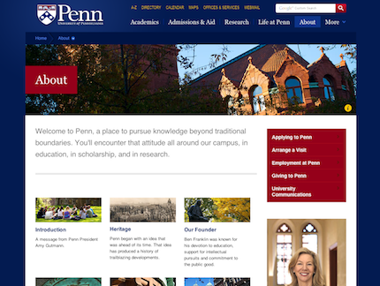UPenn.edu About page, designed by Viget Labs, 2011