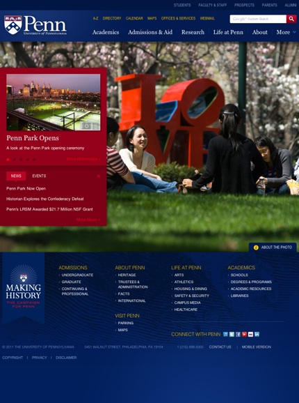 UPenn.edu homepage, designed by Viget Labs