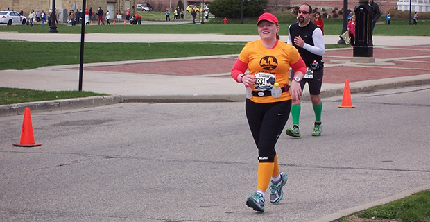 Jillian running the 2013 Wisconsin Marathon