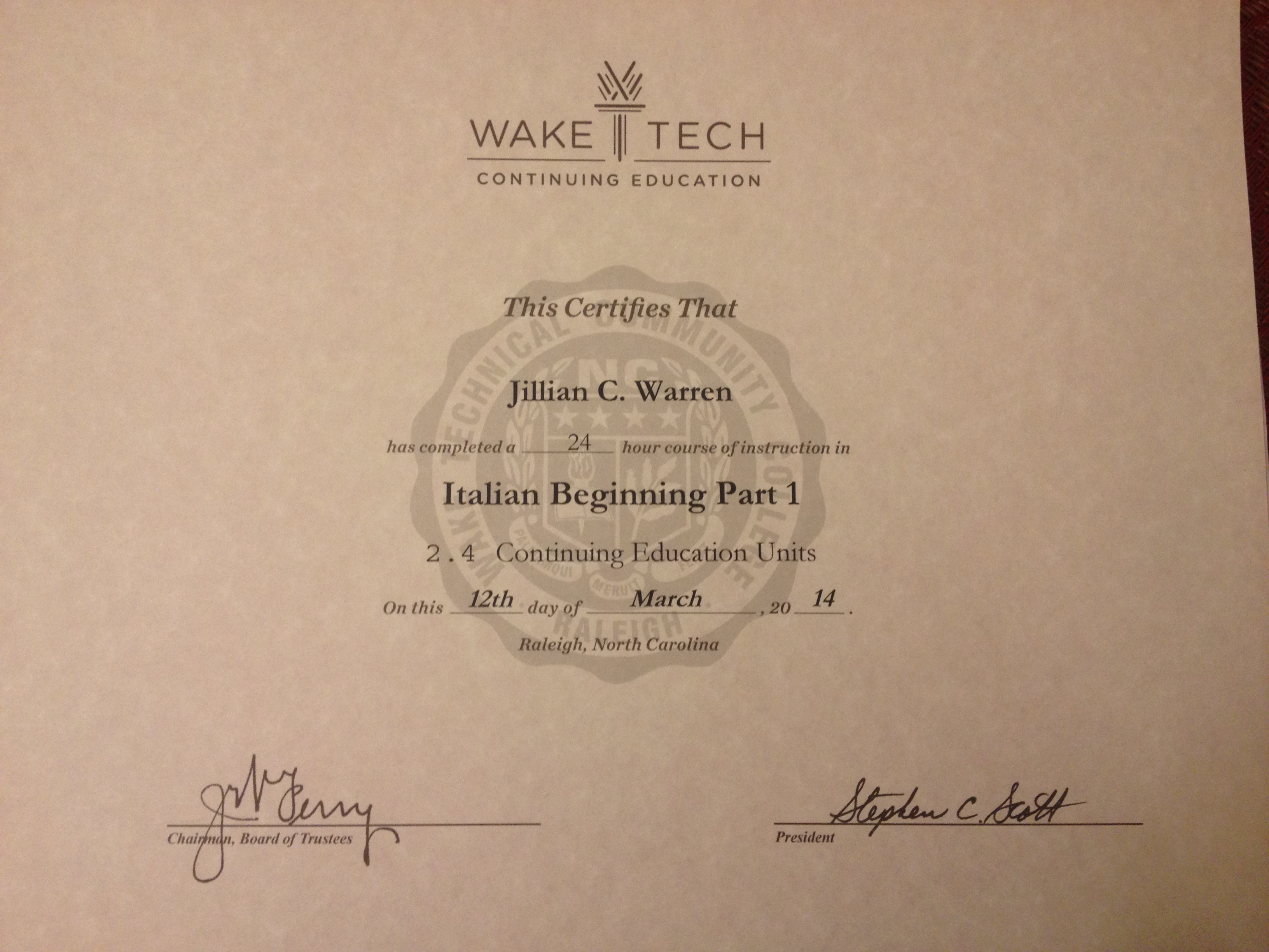 Italian Beginning Part 1 Certificate