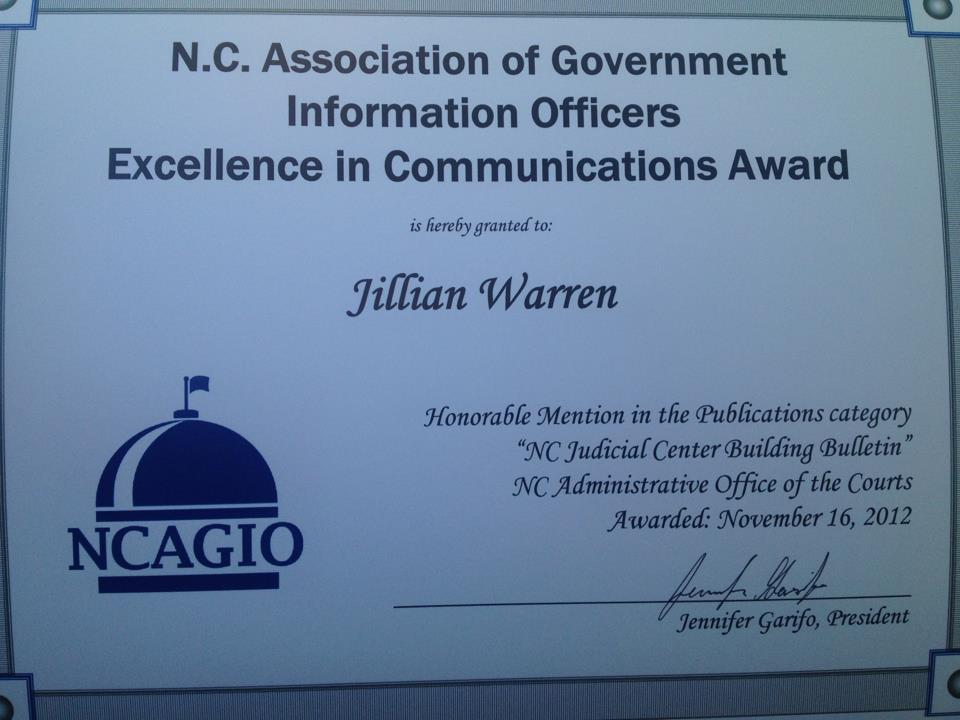Honorable Mention in Publications: NCAGIO Excellence in Communication Awards 2012